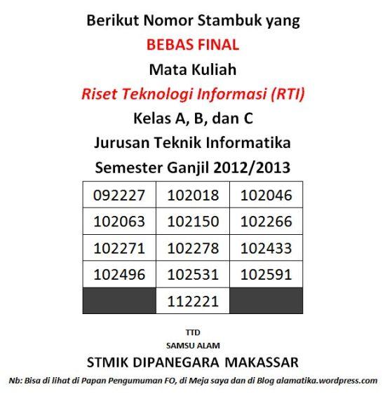 Bebas Final RTI