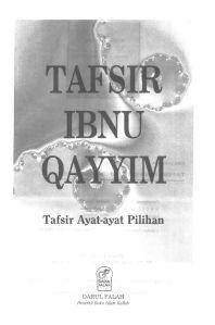 E-Book: Tafsir Ibnu Qayyim, Tafsir Ayat-Ayat Pilihan, Oleh Ibnu Qayyim Al-Jauziyah