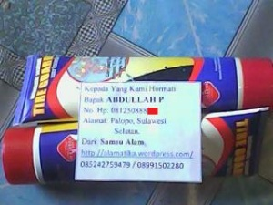 2 Botol Tire Guard a.n Saudara Abdullah P, Alamat: Palopo, Sulawesi Selatan.